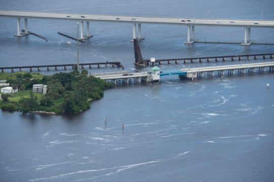 Aerial images show some waterways covered in toxic blue-green algae ahead of Labor Day weekend on Thursday, Aug. 30, 2018 in Martin County. Highly toxic blue-green algae water pouring into the St. Lucie River through the St. Lucie Lock and Dam was sampled Aug. 23 and reported to be nearly 50 times more toxic than the level considered dangerous by the Florida Department of Environmental Protection.