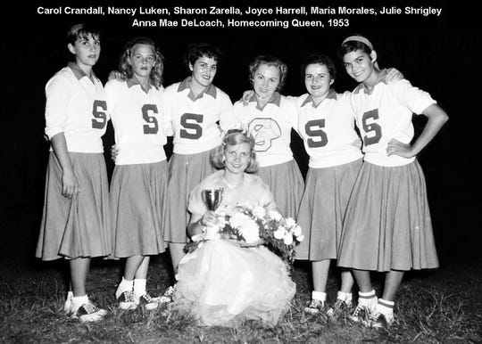 The SHS cheerleading squad and 1953 Homecoming Queen.