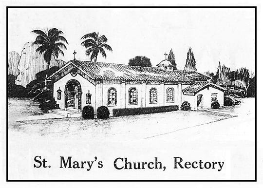 Artist's drawing of the new St. Mary's Church and Rectory.