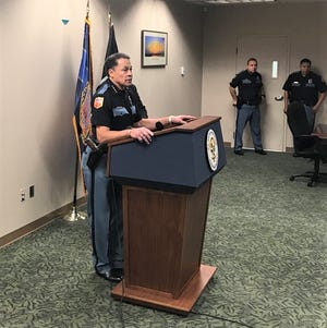 El Paso Police Chief Greg Allen speaks at a Thursday news conference about an investigation regarding an El Paso police officer who pointed a gun at children in a video.