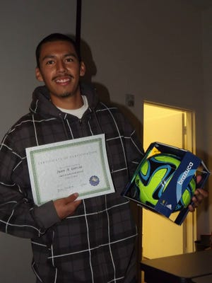 """The Oxnard College men's soccer program will celebrate the life of former star Juan """"Fanta"""" Garcia, shown at the 2014 team banquet, prior to Saturday afternoon's match against San Bernardino Valley."""