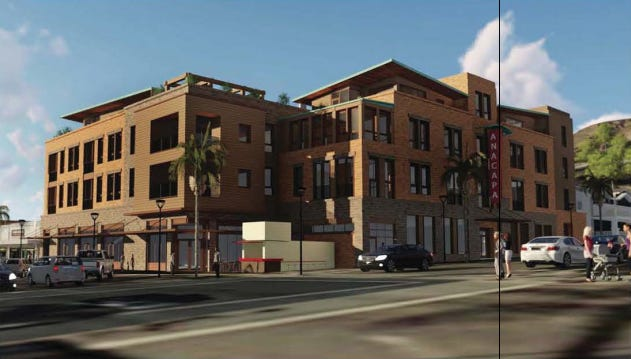A mixed-use development proposed by Downtown Ventura Properties III LLC would keep the Top Hat Hot Dog Stand.