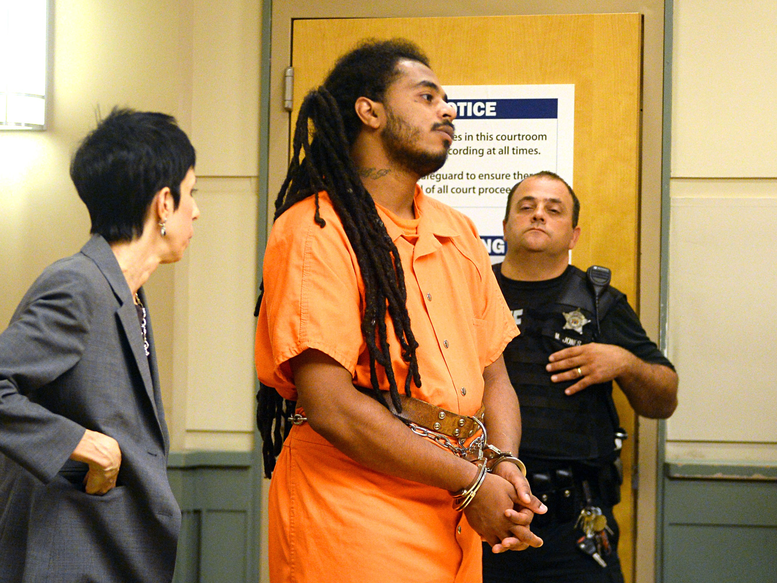 Michael L. Elliott, 25, appears for a pre-trial detention hearing at the Cumberland County Court House on Thursday, August 30. Elliott has been charged with murder for the killing of 9-year-old Jennifer Trejo of Bridgeton.