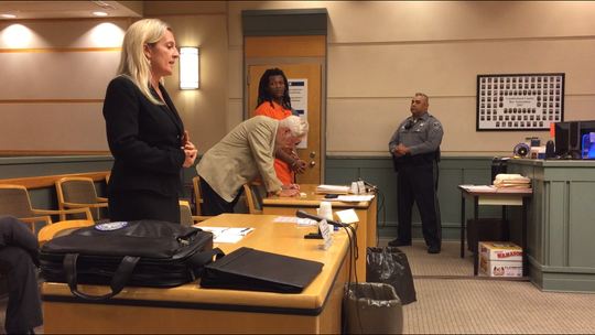 Cumberland County Assistant Prosecutor Elizabeth Vogelsong (left) speaks at a pre-trial detention hearing on Thursday for murder defendant Charles H. Gamble (right). Attorney Brian O'Malley (center) is representing Gamble. Cumberland County Superior Court Judge Robert Malestein adjourned the hearing until Sept. 5.