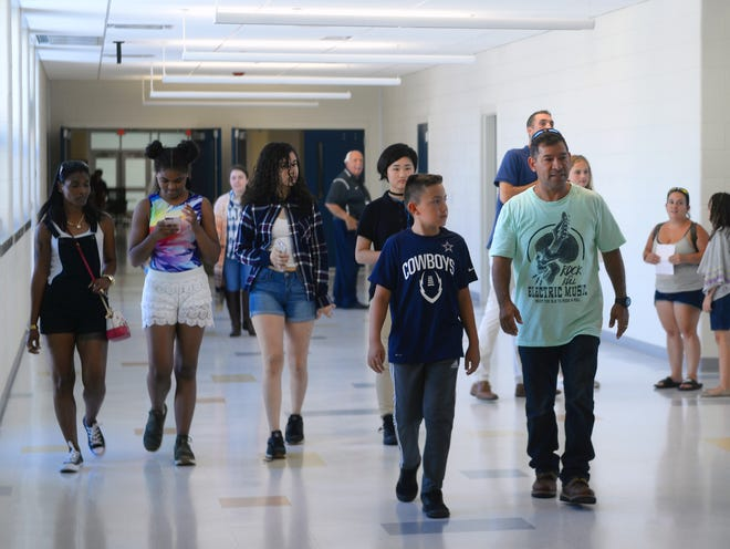 Curious residents and future students take a look at Vineland's new Lincoln Avenue Middle School during an open house on Wednesday, August 29.