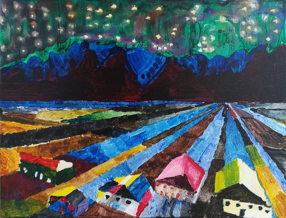 "One of Beverly's works you can see at the upcoming exhibit is ""Night Song Valley."" It is a unique landscape painting featuring colorful row crops and a village under the northern lights."