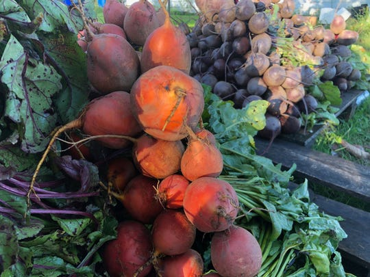 Beets wait for loading into a van that will take them from Wausau to Madison for the weekend farmers market.
