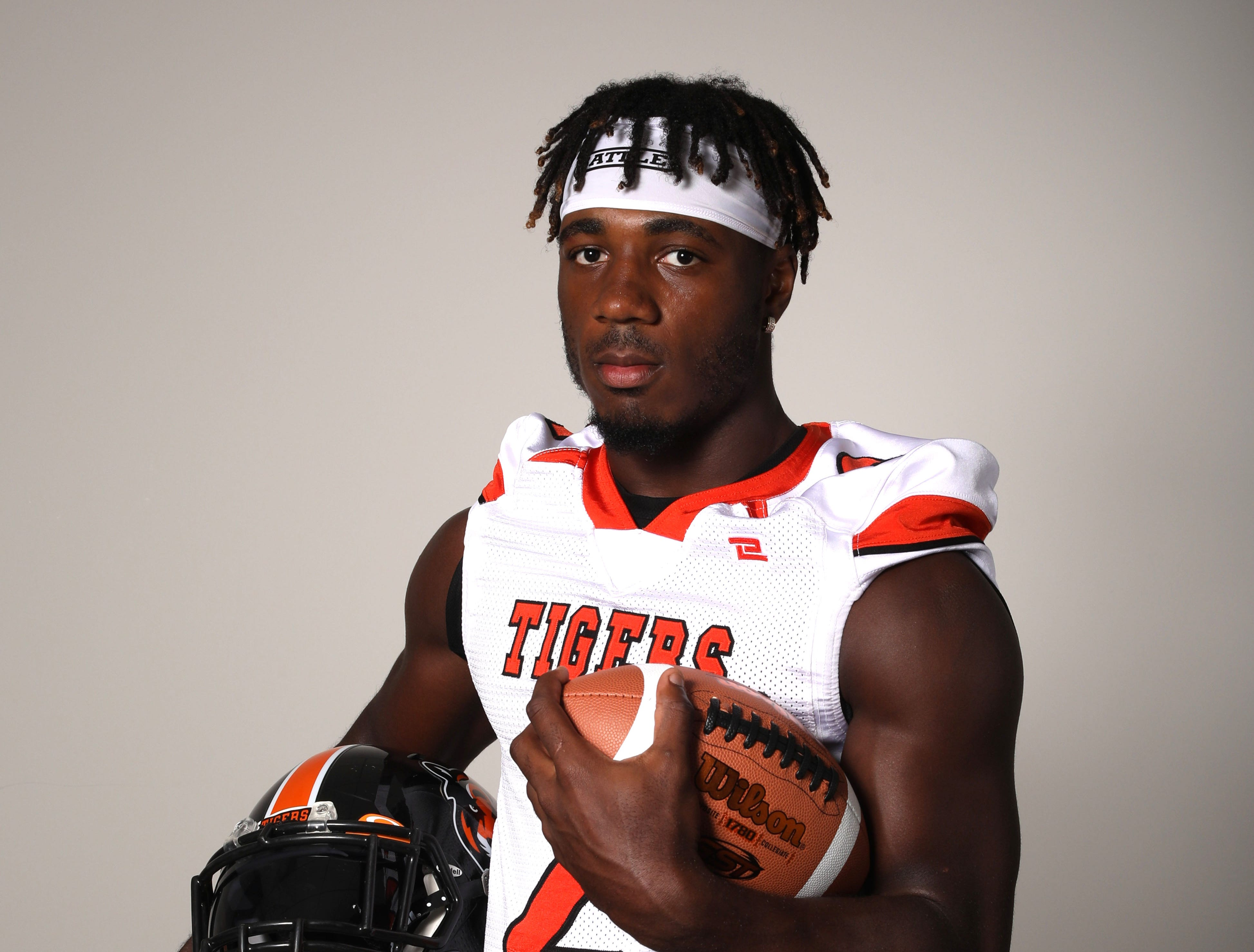 Jayden Cook, a receiver on the Spring Valley football team, photographed Aug. 23, 2018.