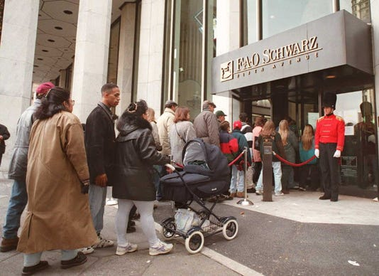 Shoppers Lined Up To Enter The Famed New York City