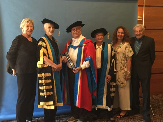 Commencement exercises at Glasgow Caledonian University in July 2018, including new Chancellor Annie Lennox and honorary degree recipient Richard Brodsky.
