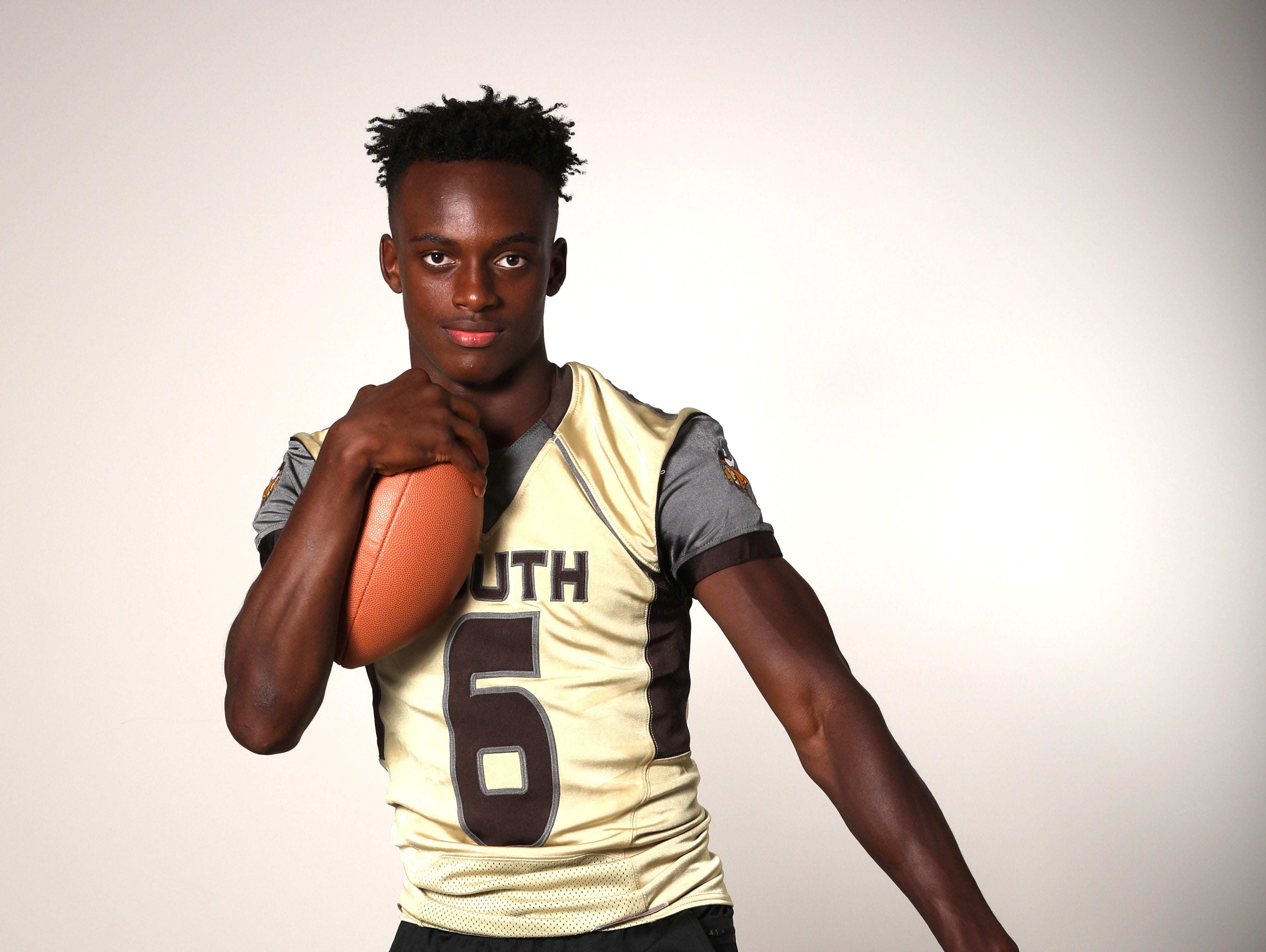RJ Lamarre, a receiver and defensive back for the Clarkstown South High School football team, photographed Aug. 24, 2018.