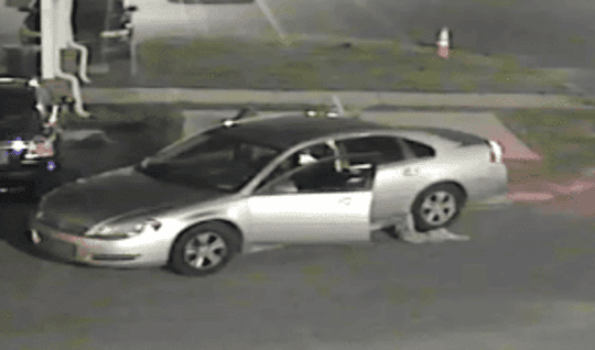 Police are searching for this car and three suspects-two women and a man-connected to a Laurel fatal shooting in July.