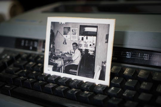 An old photograph of Alexander Rybak from 1960 when he was starting the beginning of his career repairing typewriters.
