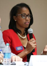 LaKresha Roberts speaks as Democratic Attorney General candidates square off in a final forum at Delaware State University Wednesday ahead of next week's primary election.