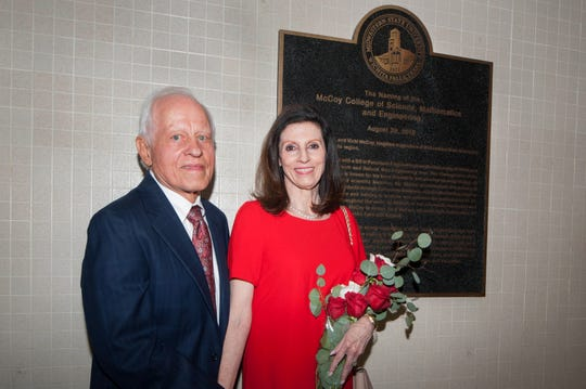 Jim and Vicki McCoy were honored during the dedication ceremony Wednesday for the newly named McCoy College of Science, Mathematics & Engineering at Midwestern State University. The college is in the Bolin Science Hall.