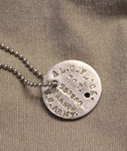 WWI military dog tag worn by Sgt. Al C. Flack