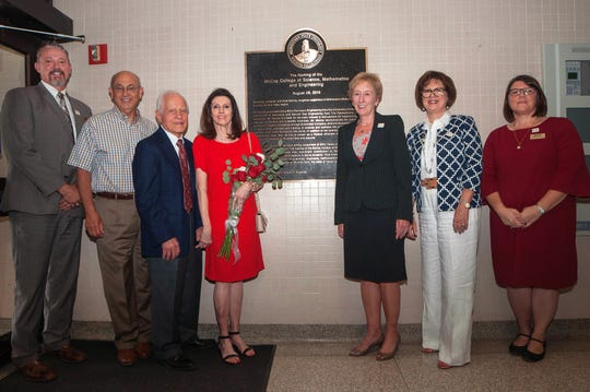 Representatives of Midwestern State University and the James N. McCoy Foundation joined Jim and Vicki McCoy during the dedication ceremony for the newly named McCoy College of Science, Mathematics & Engineering. Pictured left to right: James Johnston, provost and VP for Academic Affairs; Ken Hines, board member of the James N. McCoy Foundation; James and Vicki McCoy, MSU President Suzanne Shipley; Shelly Sweatt, MSU Regent; Marcy Brown Marsden, dean for the McCoy College of Science, Mathematics & Engineering.