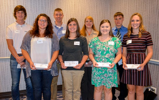 East Central/Select Sires presented eight, $1,000 scholarships to college students pursuing education in agricultural-related fields. Back row, left to right: Brady Butzler, Rockland; Ben Bruss, Markesan; Whitney Brown, Belleville; and Levi Kindschi, Loganville. Front row, left to right: Kailyn Ripp, Dane; Rachel McCullough, Juda; Jessica Steger, Prairie du Chien; and Lindsey Sarbacker, Edgerton.