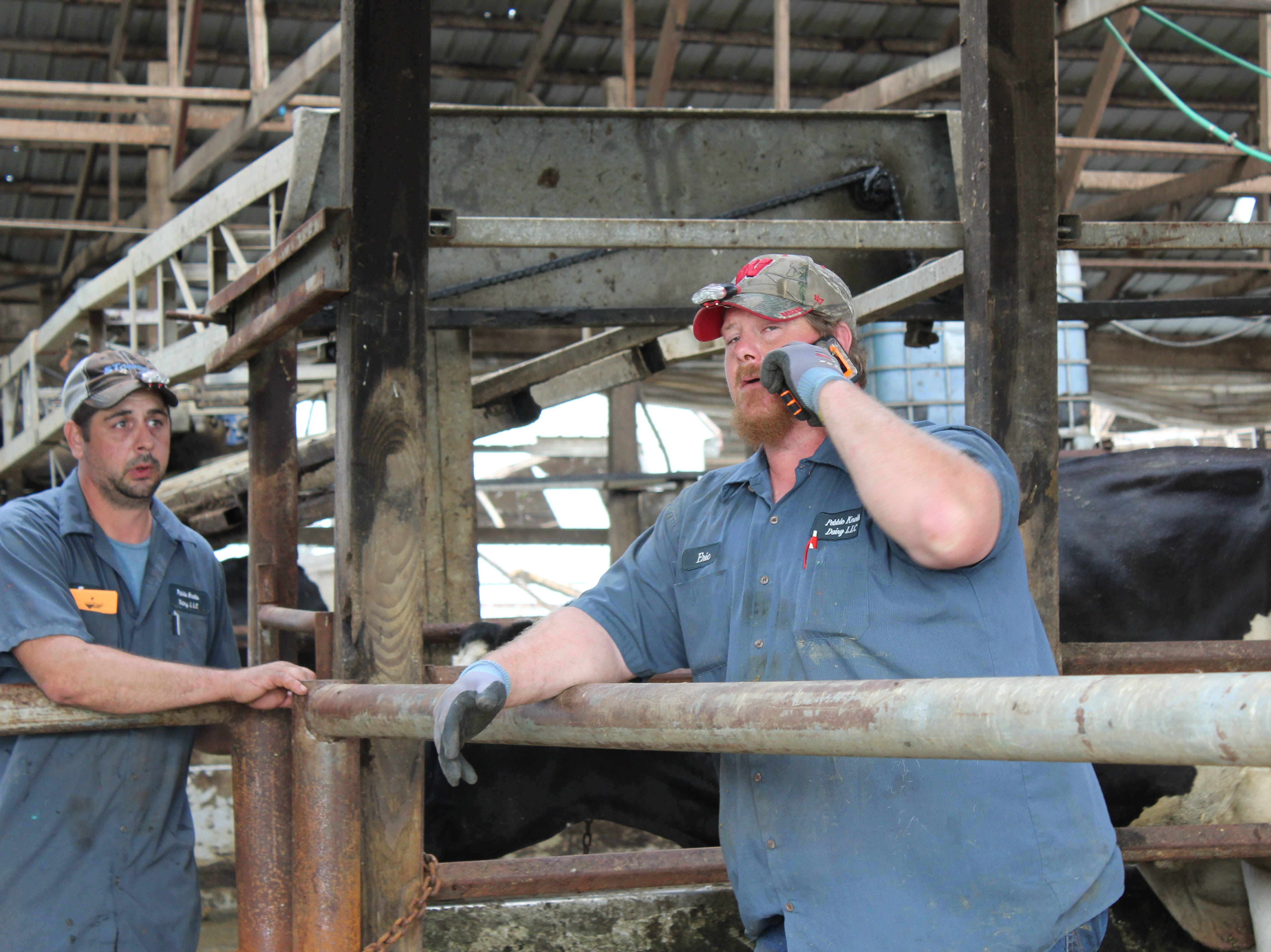 Eric Wetzel (right) second generation owner of Pebble Knolls Dairy fields another call as he tries to coordinate the cleanup at his farm following a July 28 tornado.