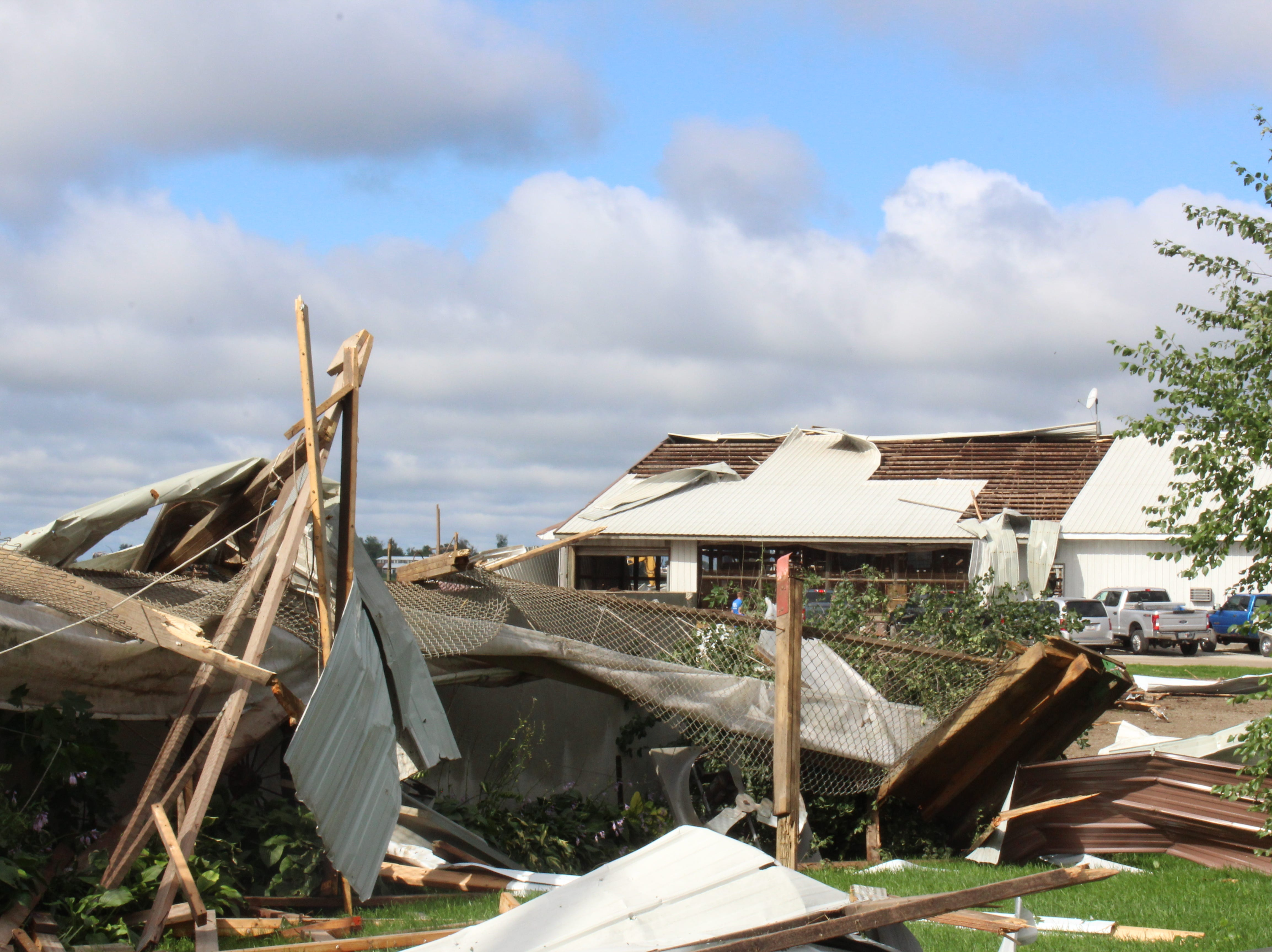 Six buildings were destroyed at Pebble Knolls Dairy near Alto.
