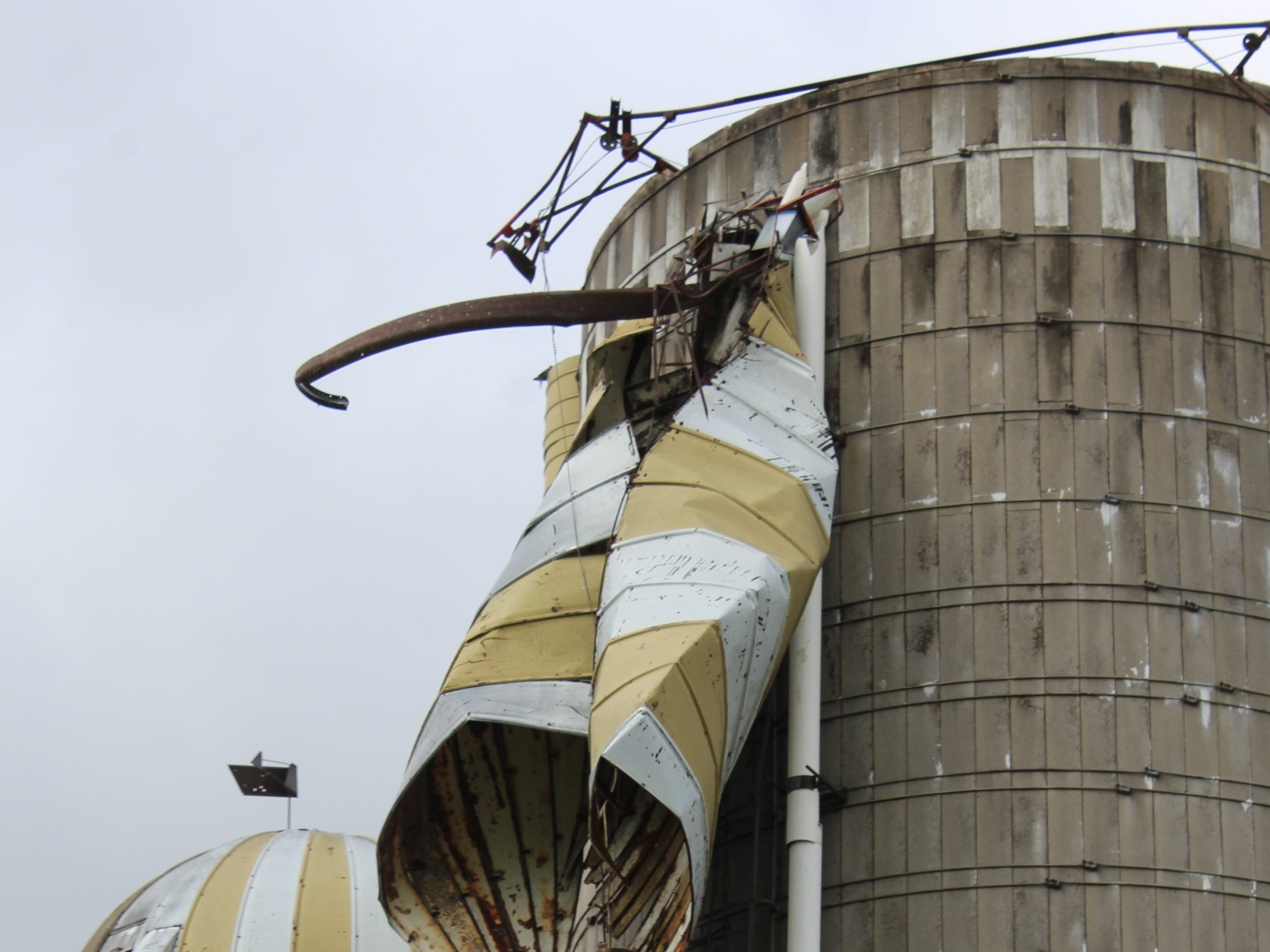 Strong winds destroyed the cover of this silo along Highway 49 northwest of Waupun.