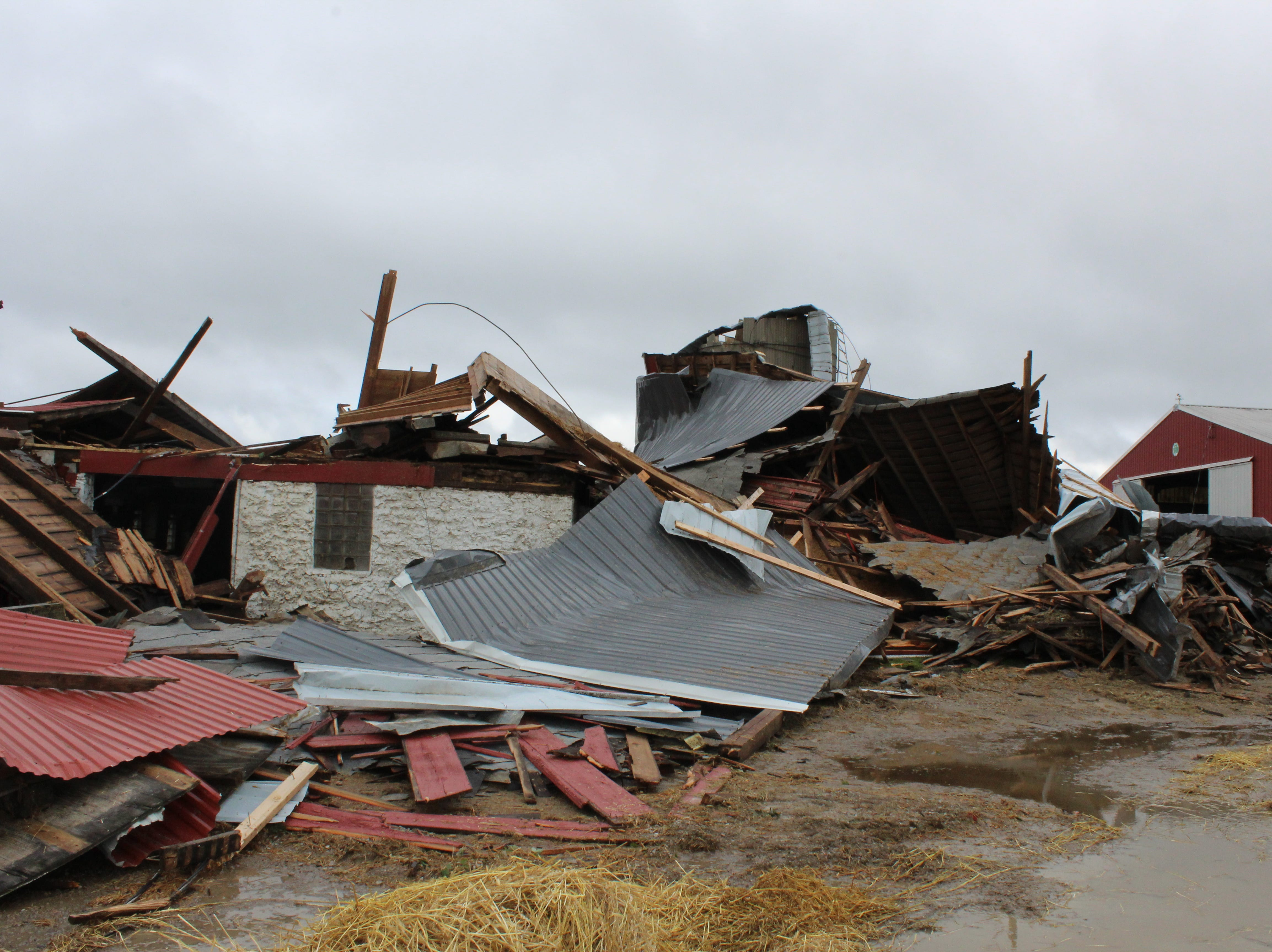 A confirmed tornado destroyed this barn at Mike and Robyn Pluim's farm off of Cattaraugus Road.