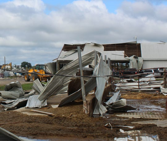 Six buildings including a large freestall barn that sheltered the milking herd at Pebble Knolls Dairy were destroyed in a tornado on Aug. 28.