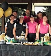 River View girls golf defeated Ridgewood on Senior Night. Pictured are: Front row: Shelby Byland (River View), Peyton Werntz (River View), Sadie Wilson (Ridgewood), Hallie Reed (Ridgewood). Back Row: Coaches Bill Stufflebean (River View), Craig Reveal (Ridgewood), Richard Reveal (Ridgewood).