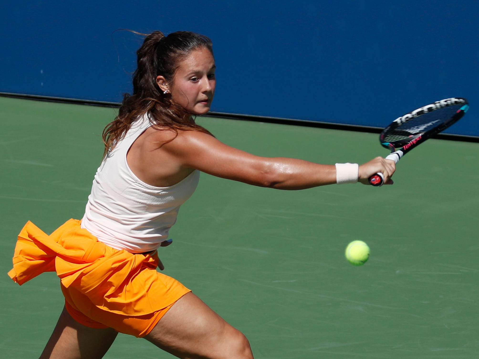 Daria Kasatkina of Russia hits to Aliaksandra Sasnovich of Belarus.