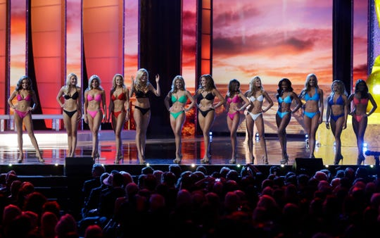 Contestants in the swimsuits competition at the 2016 Miss America pageant, Sept. 13, 2015, in Atlantic City, N.J.