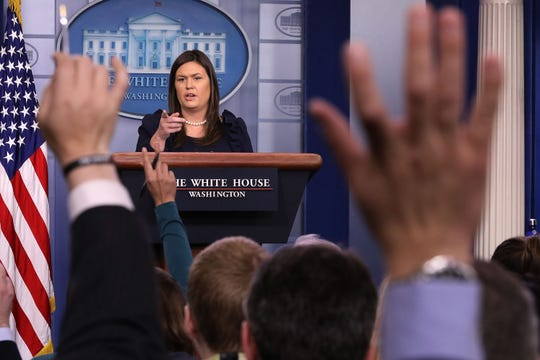 White House press secretary Sarah Huckabee Sanders conducts a news conference in the Brady Press Briefing Room at the White House Aug. 22, 2018, in Washington, D.C.