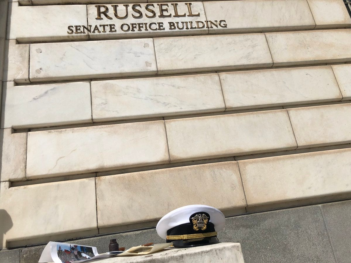 Outside the Russell building, there is makeshift memorial growing for Sen. John McCain. It includes an officer's hat, cards and messages honoring him.
