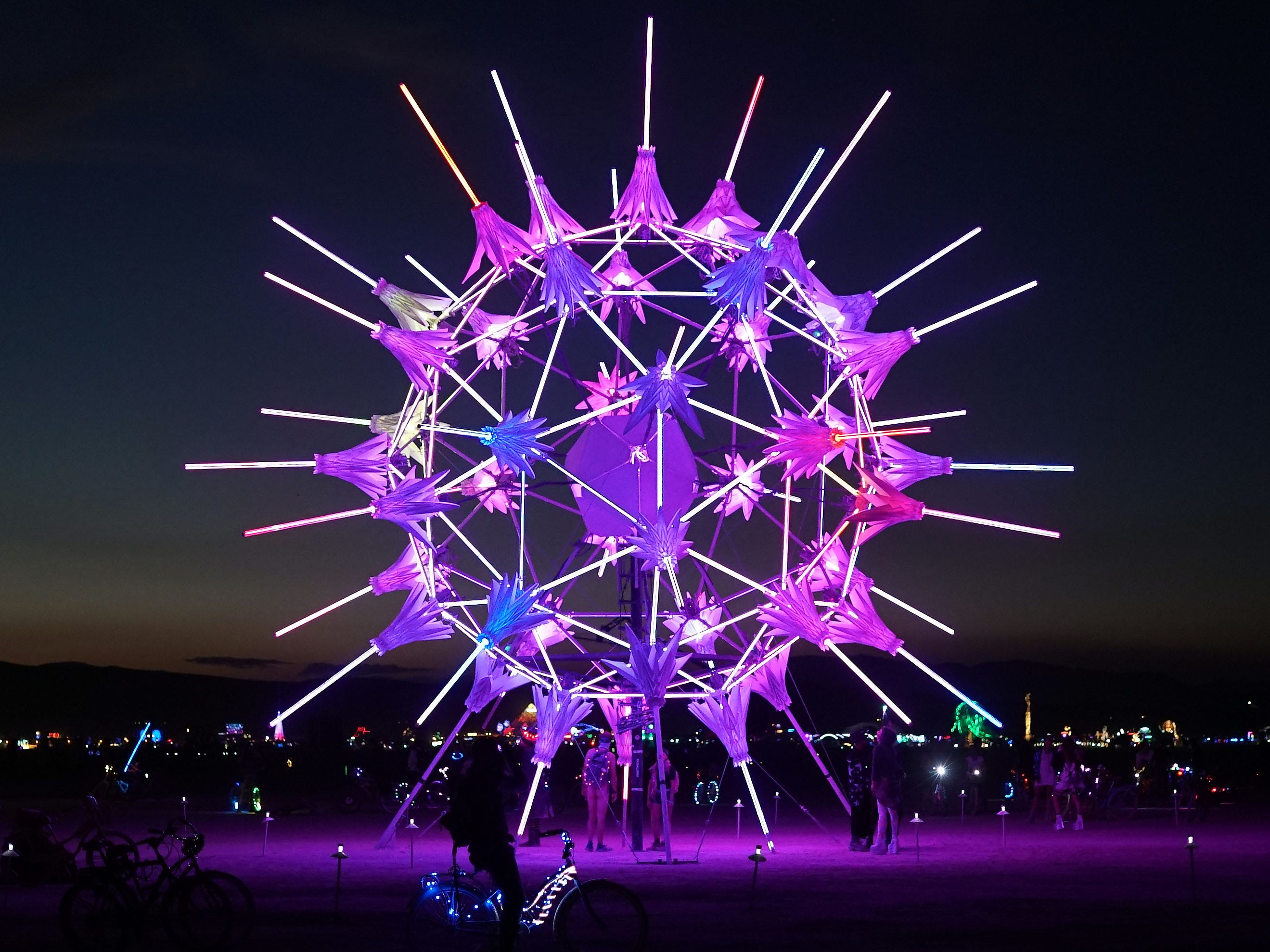 Looking like a magnified piece of pollen, this Burning Man artwork casts a purple glow onto the desert floor.