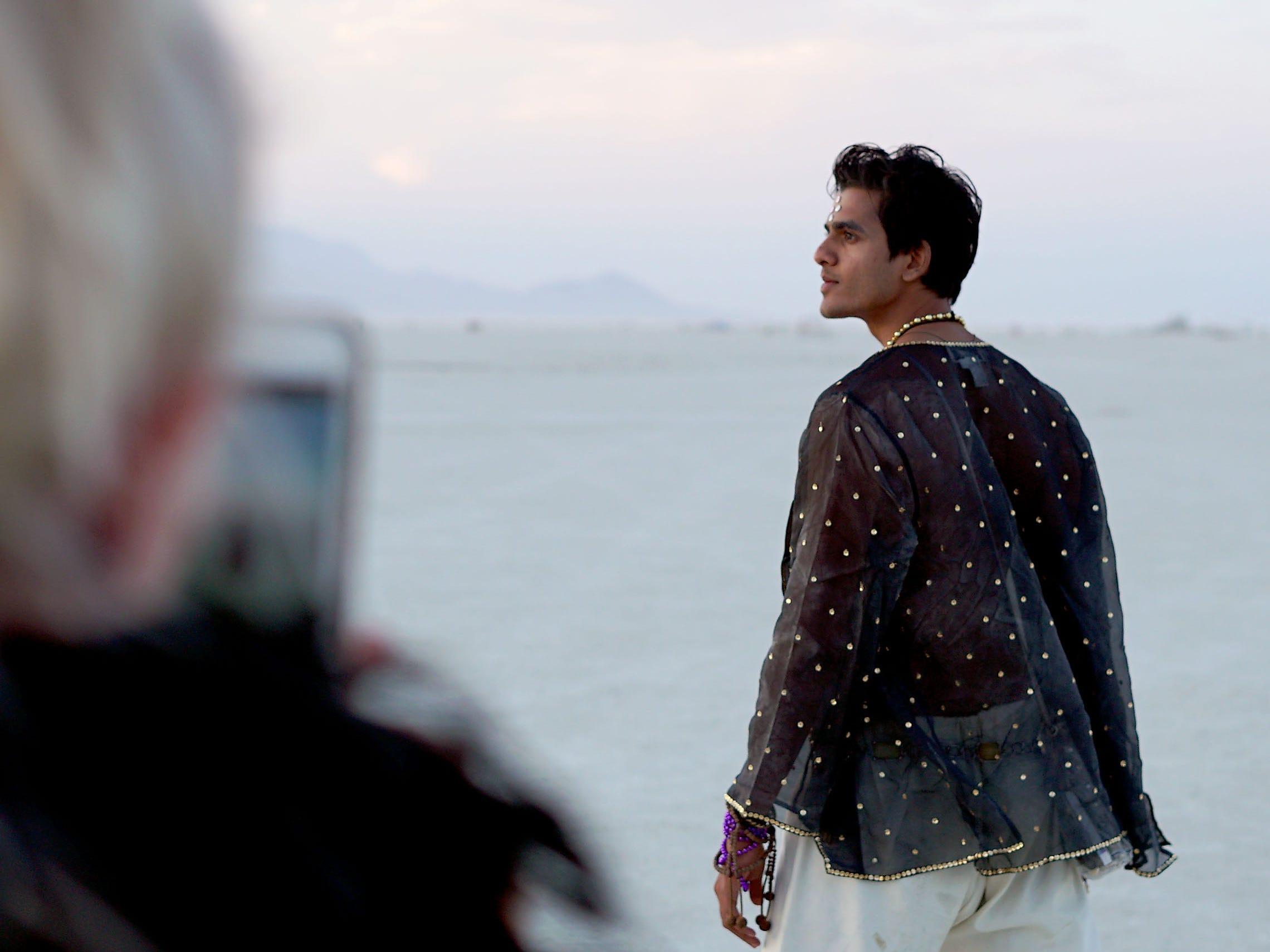 Nirav Nirvana of Los Angeles poses for a photo at Burning Man taken by Helen Sartory of London.
