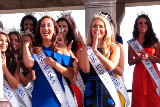 Contestants attend a welcoming ceremony on Aug. 30, 2017, for the Miss America competition on the Atlantic City, N.J. Boardwalk.