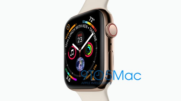 The new Apple Watch Series 4, according to a leak from Apple blog 9to5Mac.
