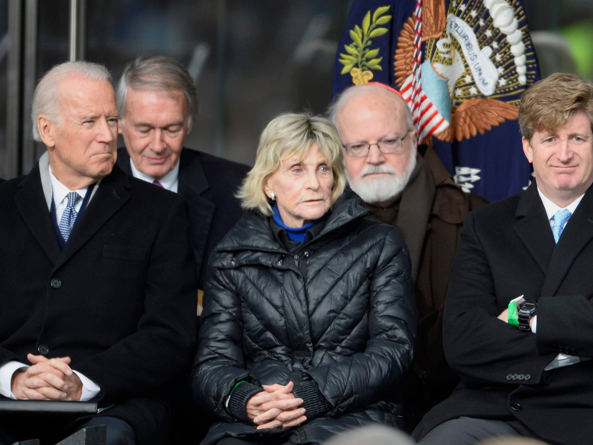epa04686707 (L-R front row) US Vice President Joe Biden, Jean Kennedy Smith, Patrick Kennedy, and Republican Senator John McCain sit together at the start of the dedication ceremony of the Edward M. Kennedy Institute for the United States Senate in Boston, Massachusetts, USA, 30 March 2015. The institute, which is envisioned as a way to inform the public about the role of the United States Senate, opens to the public on 31 March 2015.  EPA/CJ GUNTHER ORG XMIT: JLX01