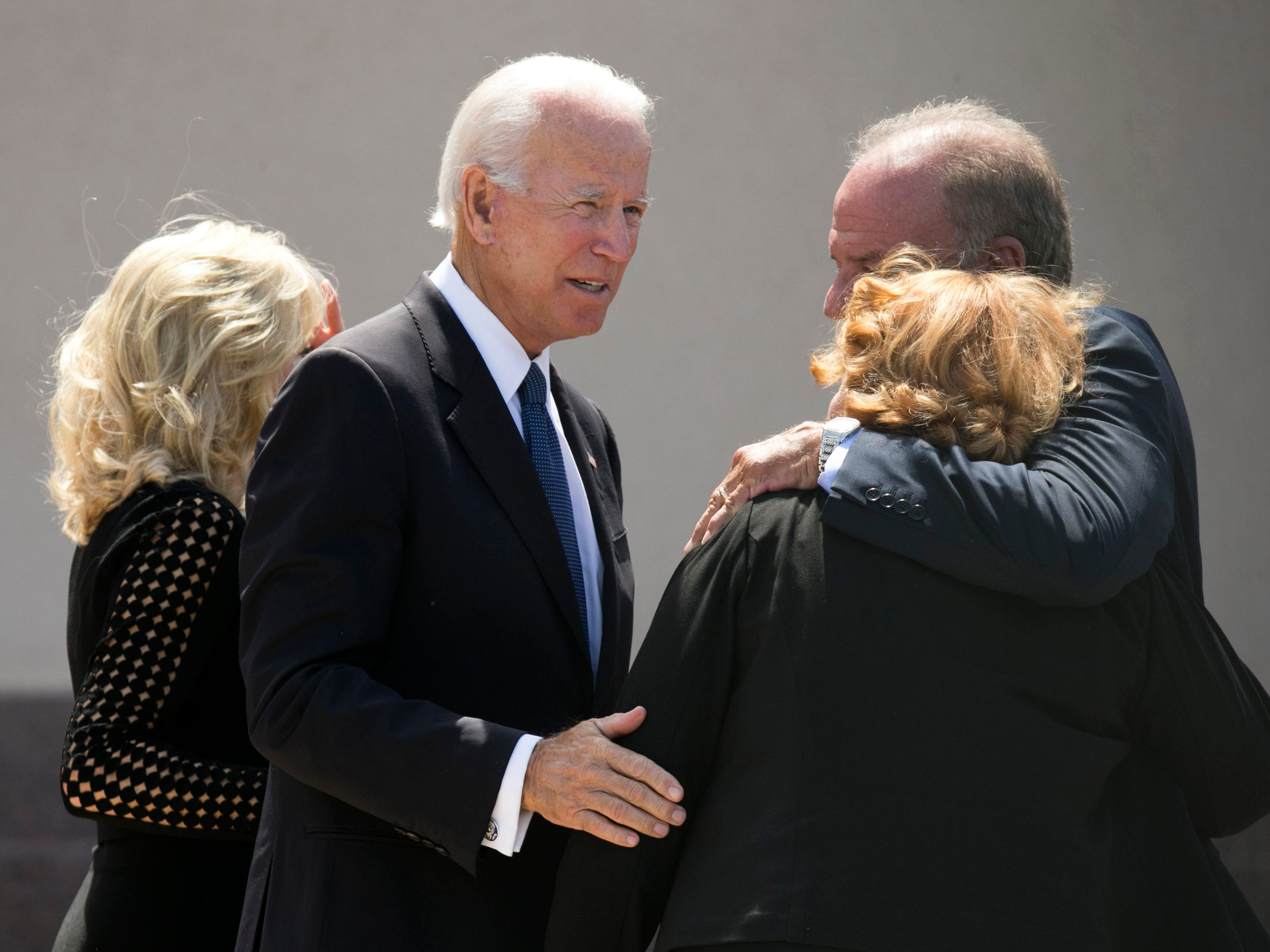 Former Vice President Joe Biden greets people following a memorial service for Sen. John McCain at North Phoenix Baptist Church, Aug. 30, 2018, in Phoenix.