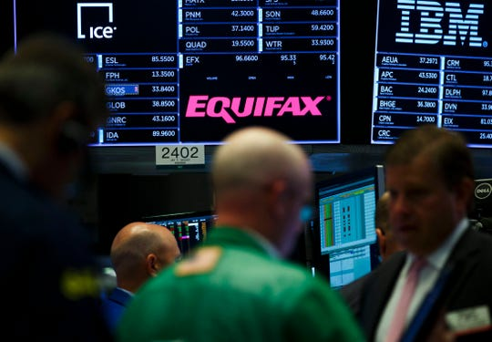 epa06206571 A view of a sign for the company Equifax on the floor of the New York Stock Exchange in New York, New York, USA, on 15 September 2017. The company recently disclosed that a data breach, discovered in July 2017, may have impacted as many as 143 million consumers in the United States. Equifax is one of the three main organizations in the US that calculates credit scores and has access to personal information including names, Social Security numbers, birth dates, addresses, some driver's license, and credit card numbers.  EPA-EFE/JUSTIN LANE ORG XMIT: JLX08
