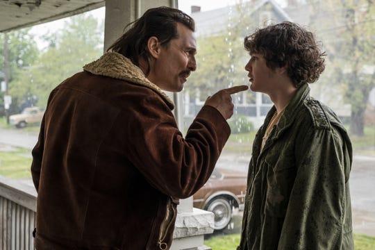 "Richie Merritt (Ricky ""White Boy Rick"" Wershe Jr., right) and Matthew McConaughey (Richard Wershe Sr.) star in 'White Boy Rick,' in theaters Friday."