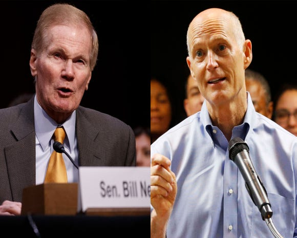 "This combo image shows at left:  Sen. Bill Nelson, D-Fla., testifies during the Senate Judiciary Committee hearing on ""See Something, Say Something: Oversight of the Parkland Shooting and Legislative Proposals to Improve School Safety"" on March 14, 2018. (Photo by SHAWN THEW/EPA-EFE.) At right: Florida Gov. Rick Scott, center, speaks during a news conference at the Florida Department of Transportation (FDOT) District Four Office,  on Aug. 22, 2018.  (WILFREDO LEE/AP)"