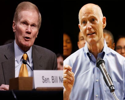"""This combo image shows at left:  Sen. Bill Nelson, D-Fla., testifies during the Senate Judiciary Committee hearing on """"See Something, Say Something: Oversight of the Parkland Shooting and Legislative Proposals to Improve School Safety"""" on March 14, 2018. (Photo by SHAWN THEW/EPA-EFE.) At right: Florida Gov. Rick Scott, center, speaks during a news conference at the Florida Department of Transportation (FDOT) District Four Office,  on Aug. 22, 2018.  (WILFREDO LEE/AP)"""