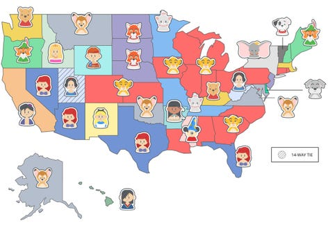 Favorite Disney classic movie by state, according to Cabletv.com.