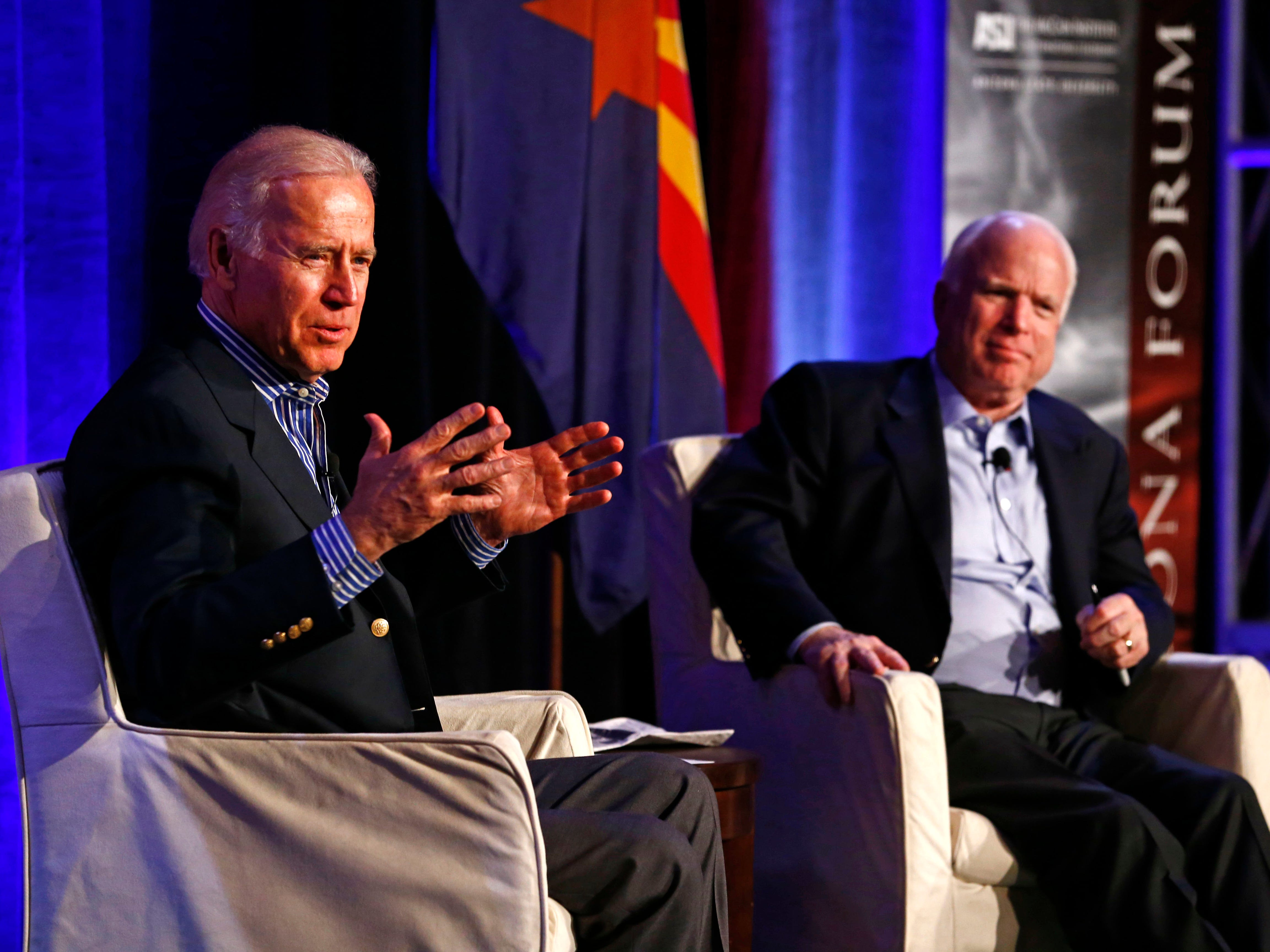 Vice President Joe Biden and Senator John McCain, R-Ariz., share the stage at the McCain Institute for International Leadership's 2013 Sedona Forum on Friday, April 26, 2013 at the Enchantment Resort in Sedona, AZ. The institute focuses on foreign-policy and national-security issues. Photo by Rob Schumacher/The Arizona Republic (Via OlyDrop)