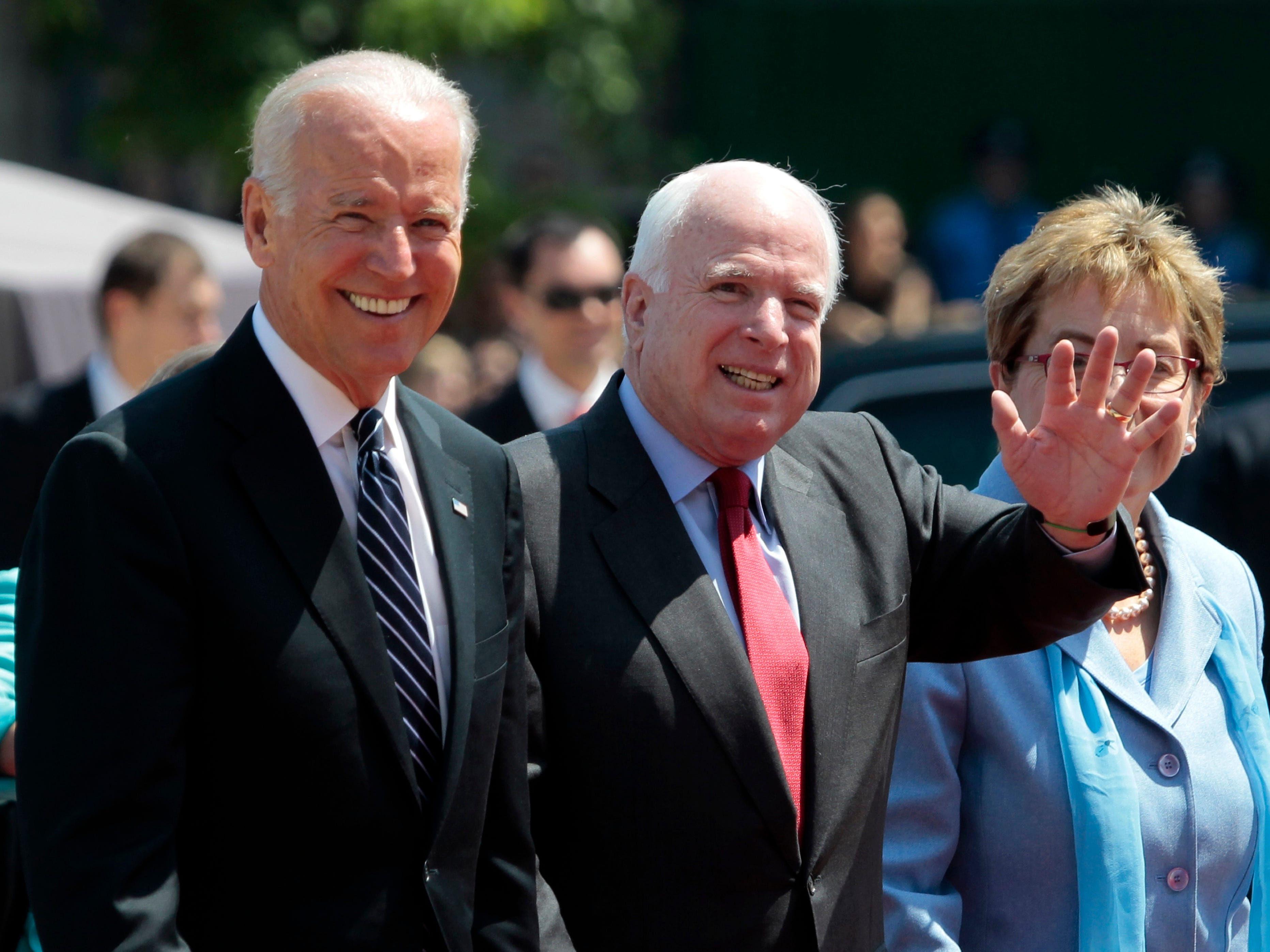 From left, U.S. Vice President Joe Biden, U.S. Sen. John McCain, R-Ariz., and Rep. Marcy Kaptur, D-Ohio, attend the inauguration ceremony of Ukraine's new President Petro Poroshenko in Kiev, Ukraine, Saturday, June 7, 2014. Petro Poroshenko took the oath of office as Ukraineís president Saturday, assuming leadership of a country mired in a violent uprising and economic troubles.  (AP Photo/Sergei Chuzavkov) ORG XMIT: MOSB120
