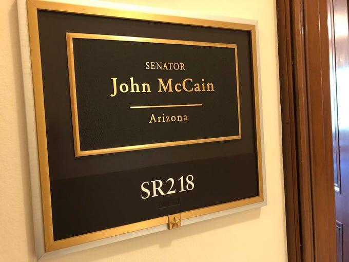 John McCain's nameplate outside his D.C. office.