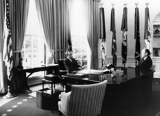President Richard Nixon and Vice President Gerald Ford in 1974.