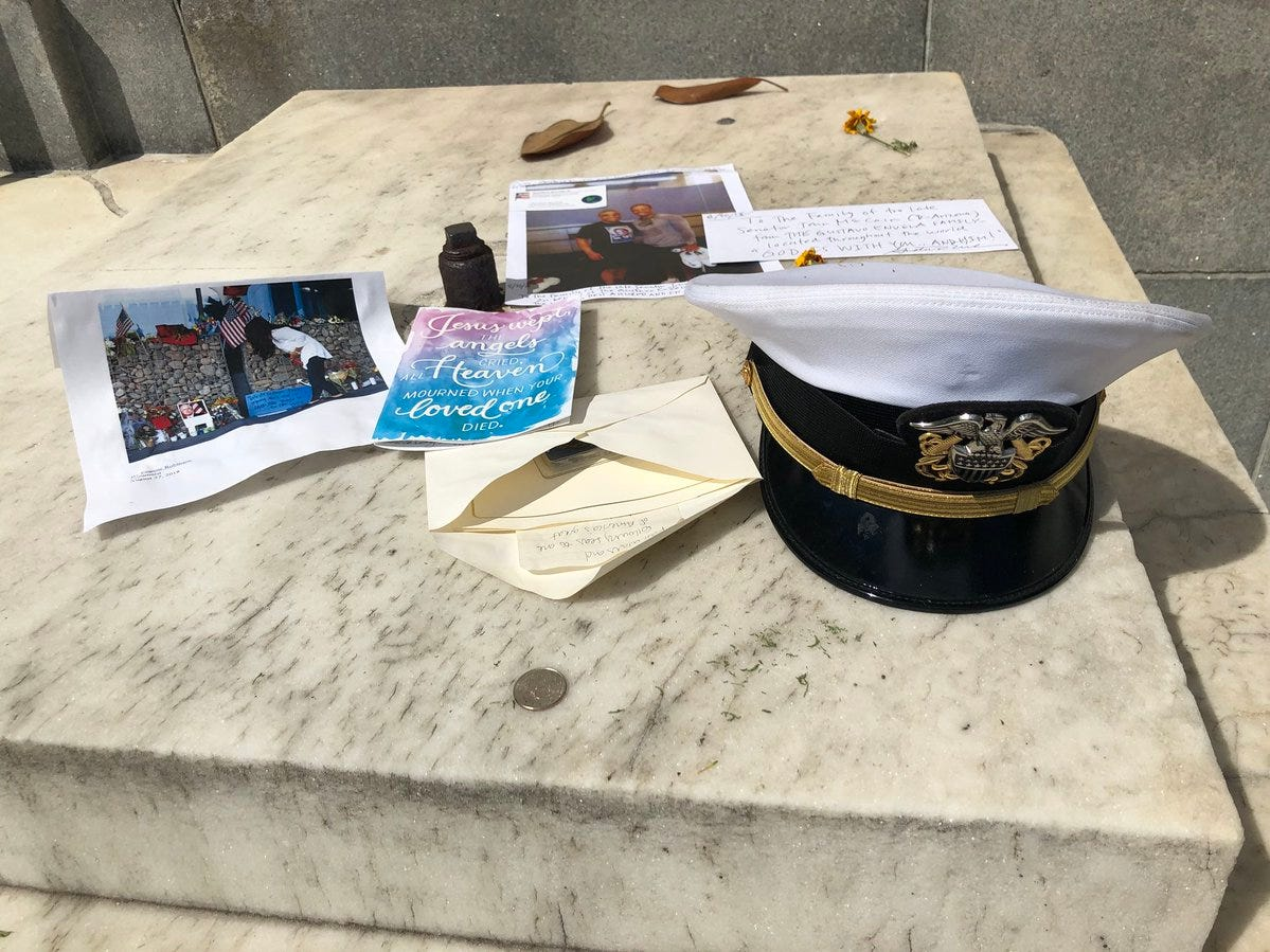 Outside the Russell Senate Office building, there is makeshift memorial growing for Sen. John McCain. It includes an officer's hat, cards and messages honoring him.