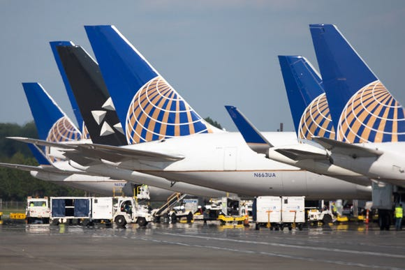 United Airlines tails are seen at Washington Dulles International Airport on June 29, 2018.