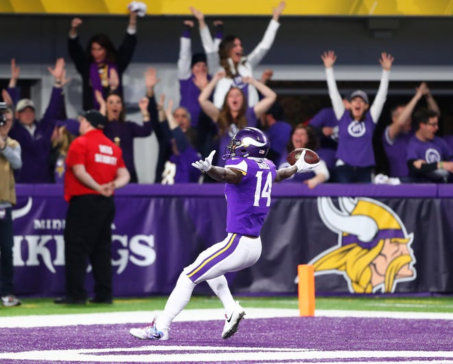 Stefon Diggs celebrates the game-winning last-second touchdown that gave the Vikings a miraculous victory over the Saints in last year's NFC Divisional Playoff.